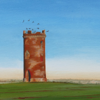 Dovecot with crows - Rural Landscape Painting - Berkshire Artists Gallery - Kerry Webb