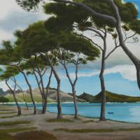 Pollensa Bay Mallorca – Pine Trees – Coastal Landscape – Reading Guild of Artists member Kerry Webb