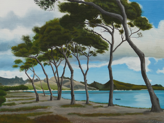 Pollensa Bay Mallorca - Pine Trees - Coastal Landscape - Reading Guild of Artists member Kerry Webb