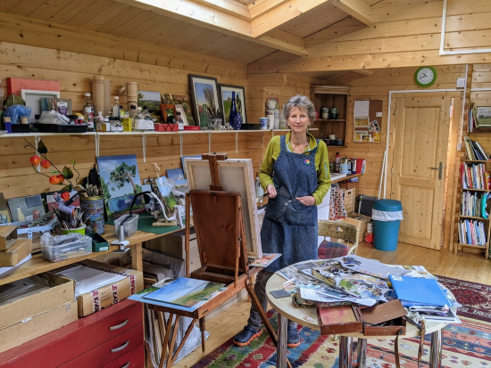Shelagh Casebourne at work in her Berkshire studio