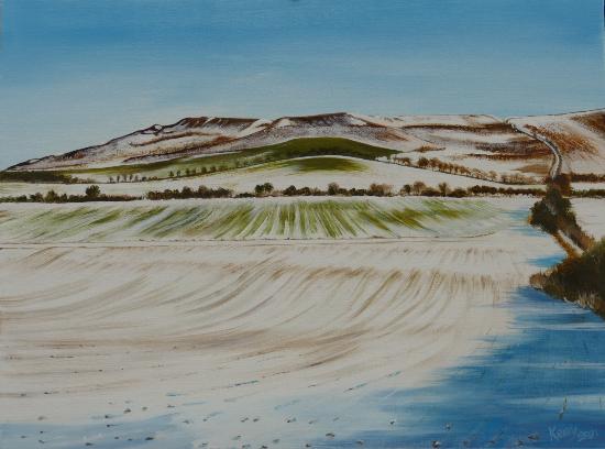 Uffington Castle near Wantage Oxfordshire - Rural Landscape Artist Kerry Webb - Berkshire Artists Gallery