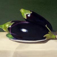 Aubergines – Still-Life Oil Painting – Crowthorne & Sandhurst Art Society member Fred Bennett