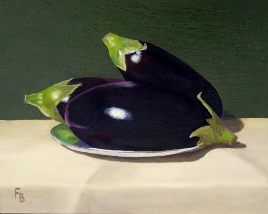 Aubergines - Oil Painting - Crowthorne & Sandhurst Art Society member Fred Bennett