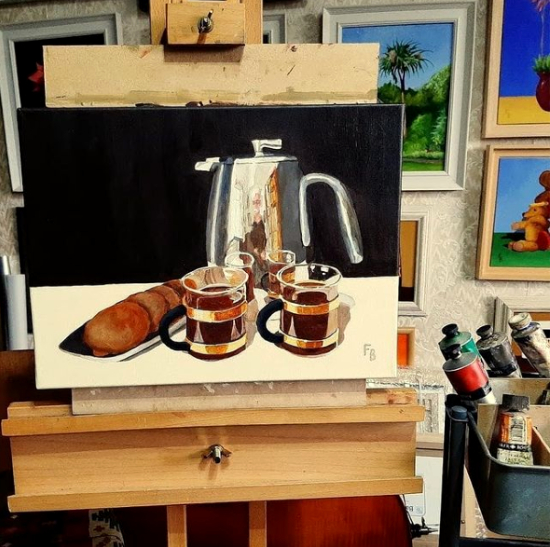 Berkshire Artist Fred Bennett - Morning Coffee in my Studio