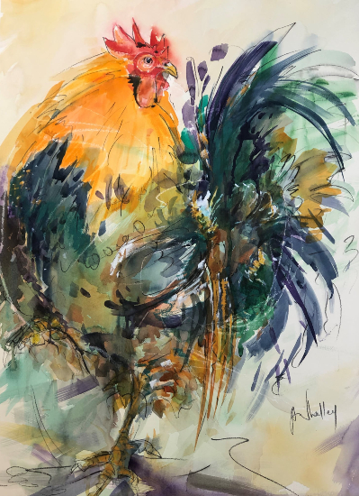 Cockerel - Wildlife Art Gallery - Watercolour and Acrylic - Society of Women Artists member Jenny Whalley