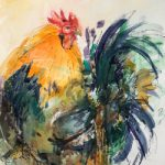 Cockerel – Wildlife Art Gallery – Watercolour and Acrylic – Society of Women Artists member Jenny Whalley