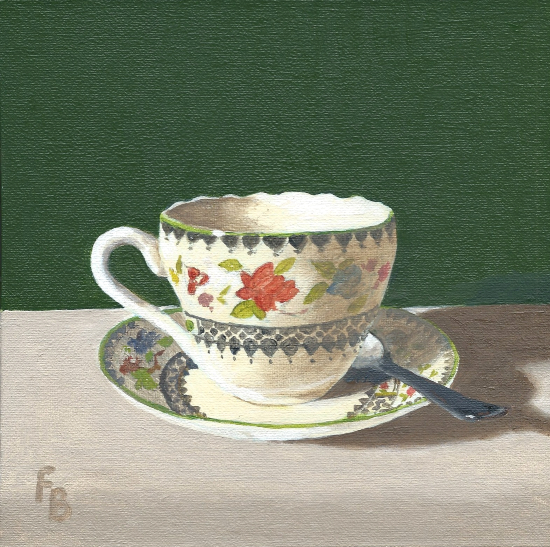 Cup and Saucer Oil Painting - Wokingham Art Society Artist Fred Bennett