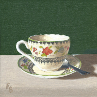 Cup and Saucer Oil Painting – Wokingham Art Society Artist Fred Bennett