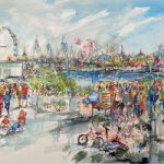 London Cityscape South Bank Terrace – People Watching – London Eye – Sandhurst Artist Jenny Whalley