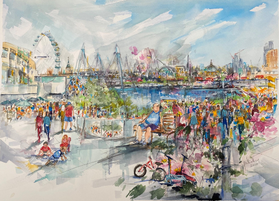 London Cityscape South BankTerrace - People Watching - London Gallery - Sandhurst Artist Jenny Whalley