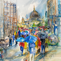 St Pauls Cathedral London Cityscape by Society of Women Artists member Jenny Whalley from Sandhurst Berkshire