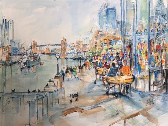 Tower Bridge London - South Bank - River Thames - Mixed Media Sandhurst Artist Jenny Whalley