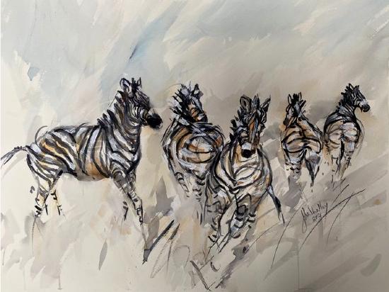 Zebras Charge - Wildlife Art Gallery - Artist Jenny Whalley