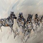 Zebras Charge – Wildlife Art Gallery – Watercolour and Acrylic – Artist Jenny Whalley