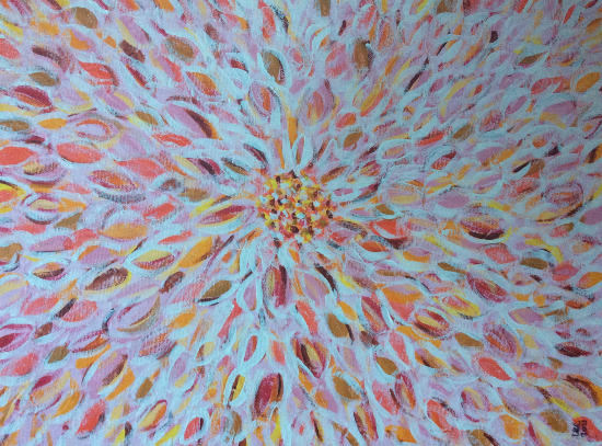 Exploding Flower - Acrylic and Gesso Painting - Berkshire Artist Lee Driver