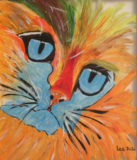 Ginger Cat on Glass - Contemporary Animal Artist Lee Driver