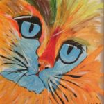 Ginger Cat on Glass – Contemporary Animal Artist Lee Driver